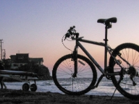 Cycling  0311161022 Kamakura beach. Hired bike, saddle in upper position; still to small. : Countries & Places, Cycling, Japan, Kamakura, Shores